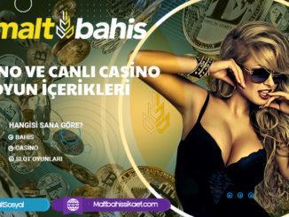 Casino ve canlı casino oyun içerikleri